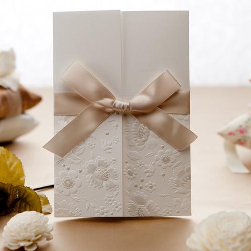 simple-but-elegant-white-engraved-flowers-ribbon-wedding-invitations-EWLS040.