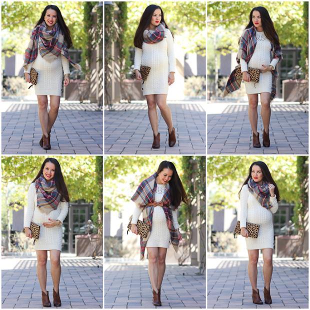 طرق لـ إرتداء الشال على الفستان في فصل الشتاء