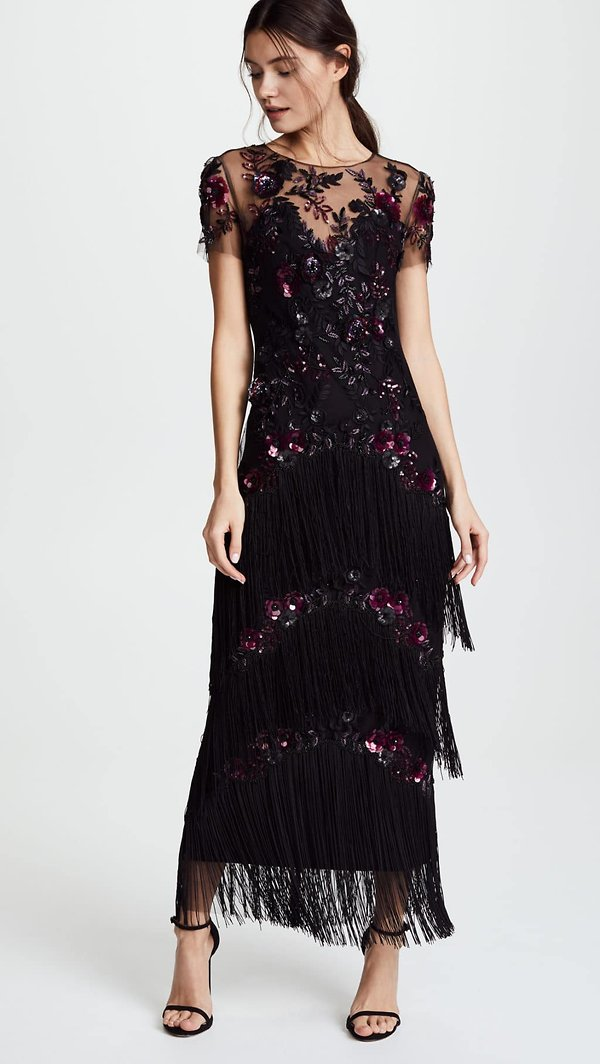 MARCHESA-NOTTE-Short-Sleeve-Embroidered-Fringe-Tiered-Black-Gown-4.